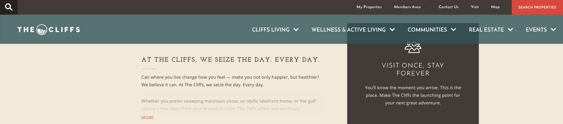 Example of a sticky menu in www.cliffsliving.com